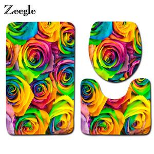 Zeegle flor impresa 3 unids antideslizante alfombras de tocador conjunto alfombras de baño absorbentes piso de baño alfombra lavable almohadilla de inodoro almohadilla del asiento