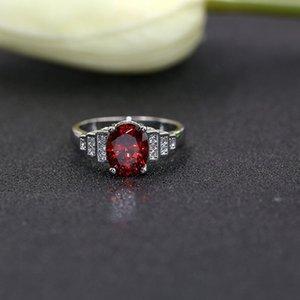 New Melhor Design de Womens Romantic Red Stone presente Anel Sorte Fortunate Plated Silver Ring Declaração casamento