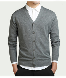Новый хлопок свитер мужчины с длинным рукавом кардиган мужские свитера с v-образным вырезом свободные сплошной кнопки Fit вязание повседневная стиль полиэстер качество одежды