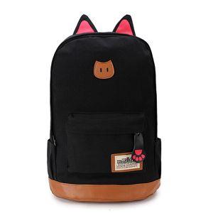 Mochila de lona para mujer Orejas de gato Mujer Mochila Chica Escolar mochila mochila estilo preppy nbxq162