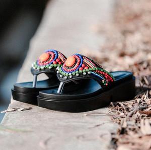 HOT SALE Summer Flat Sandals Ladies Bohemia Beach Flip Flops Gladiator Women Beaded Sandals Slippers Zapatos Mujer Sandalias EUR SIZE:35-40