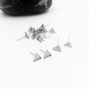 100pcs / lot 스테인리스 삼각형 귀 studs 귀걸이 기본 설정 공예를 만드는 귀걸이에 대한 설정 카보 숑 패션 전체 판매