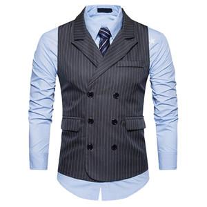 Colete de terno listrado vertical MenTurn-down collar Double Breasted mangas colete Mens Casual Suit Vest coletes de negócios por atacado