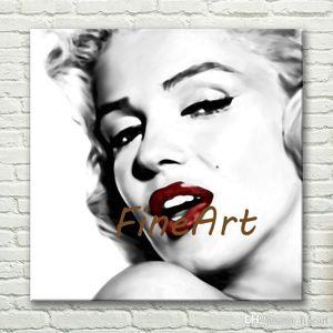 Pintados à mão atacado marilyn monroe pintura no chão branco preto e branco pinturas sobre tela pinturas art deco venda
