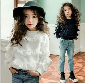 2018 Yeni Kore tarzı kız yuvarlak yaka beyaz ruffles kız gömlek bahar kız rahat zarif rahat gömlek% 100% pamuk 110-160 cm