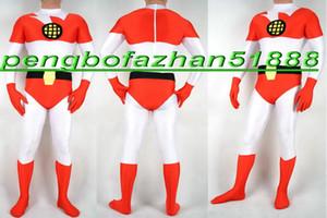 Vermelho / branco spandex lycra superhero terno catsuit trajes unisex fantasia superhero terno outfit unisex super hero trajes halloween suit p192