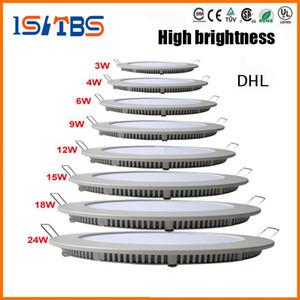 Dimmable ronde Panneau lumineux LED SMD 2835 3W 9W 12W 15W 18W 21W 25W 110-240V LED plafond lampe encastré vers le bas SMD2835 + pilote downlight