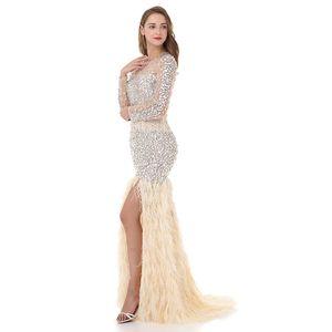 Pretty Women Ivory Mermaid Long Sleeve Prom Dresses 2018 LORIE Rhinestone Feathered Robe De Soiree Elegant Long Evening Dresses
