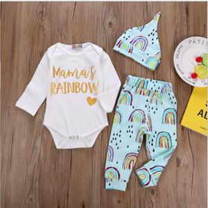 Abbigliamento per bambini Arcobaleno Lettera Stampa Tute Pagliaccetti per ragazze Pantaloni Set di cappello Ragazzi Tute Pantaloni Cap 3 Pz Set Vestiti del bambino YL307