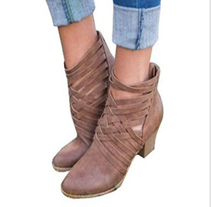 dress shoes lady women winter boots Pink velvet high heels Cross strappy boots women's chunky ankle boots A196