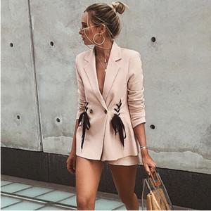 Cappotto rosa moda cravatta 2018 nuovo Abito sexy moda Giacca doppiopetto con colletto cravatta Macchina cuore rosa bambina