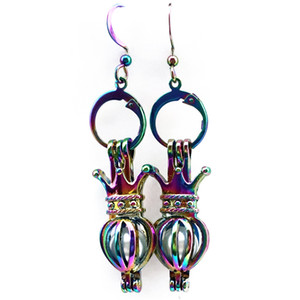 Z228 Rainbow Color Cute Bijou Crown Pearl Cage Earrings Hooks with 8mm Plastic Beads Girl's Gift