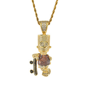 Hip Hop Shiny Skateboard Cartoon Doll Colgante Collar Oro Plata Color Iced Out Cubic Zircon Joyería HipHop de los hombres