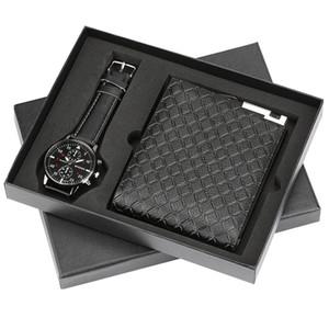 Top del reloj para hombre relojes del cuarzo de Monedero Juego de regalo de Relojes mejor regalo de cumpleaños novio de negocios hombres de la moda