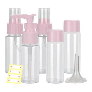 7pcs set Mini Plastic Travel Transparent Bottle Eyeshadow Makeup Face Cream Jar Pot Bottle Empty Cosmetics Container Bottle