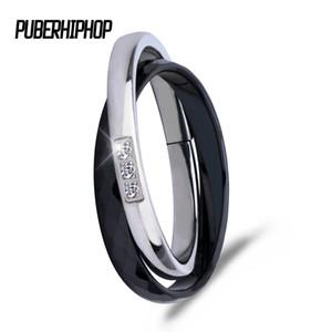 2017 Nova Cruz Anéis De Cerâmica Preto Branco Duplo Mulheres Anéis Para As Mulheres de Design Exclusivo de Moda Em Aço Inoxidável Anel De Prata Para O Presente
