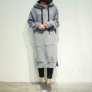 Frühling und Herbst beiläufige lose lange Hoodies Sweatshirt Aufmaß volle Hülsen-Vlies-Split mit Kapuze Kleid Vestidos Plus Size L-5XL