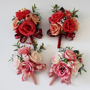 Wedding Favore Decor Corsage Flower Handmade Prom Seta artificiale Rose Pin Fiori Sposa Damigella d'onore Decorazione Bouquet Vendita calda 6 8hy YY