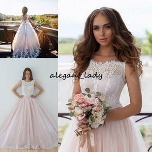 Elegante vestido de baile vestidos de casamento 2018 lace tull branco rosa blush sem encosto bandage jardim vestidos de casamento bow sash sweep trem