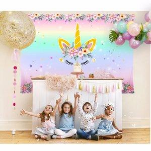 Yeni Tasarım Unicorn Parti Backdrop Unicorn Fotoğraf Backdrop Bebek Gökkuşağı Doğum Temalı Parti Diy Süsleri 210 * 150cm