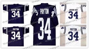 NCAA Jackson Eyaleti Tigers # 34 Walter Payton Dikişli Lacivert JSU Chicago Beyaz Vintage Kolej Futbol Formaları S-4XL Ücretsiz Alışveriş