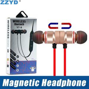 ZZYD XT-6 Bluetooth-наушники магнитные Беспроводные спортивные наушники гарнитуры BT 4.1 с микрофоном для iP 7 8 X Samsung Note8 S8 S9