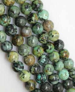 144 unids / lote 8 mm perlas africanas turquesas piedra redonda perlas sueltas piedras preciosas semipreciosas naturales joyería de DIY que hace