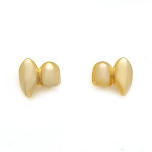 Брекеты металл двойной зуб Grillz золото серебро цвет зубной Grillz верхняя нижняя хип-хоп зубы крышки тела ювелирные изделия для женщин мужчины мода Хэллоуин