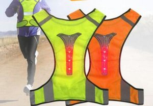 Adjustable Unisex High Visibility Security Reflective Vest Super Thin Breathable Night Running Cycling LED Reflective Vest