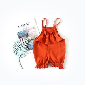 3 colores INS nueva ropa de verano para niños ropa de verano niña color sólido con volantes cortos pantalones dulces bebé ropa de niña