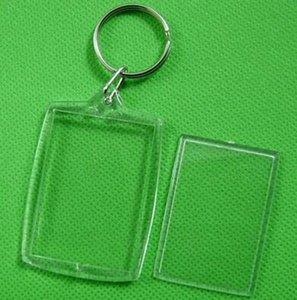 Claro de acrílico de plástico en blanco llaveros Insertar pasaporte marco de fotos llavero marco llaveros del regalo del partido