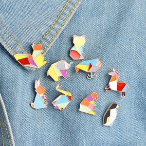 Origami Animal Solapel Pin Esmalte Pins Elephant Rabbit Bunny Brooches Bear Squirrel Whale Penguin Fox Design