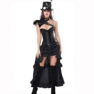 Corzet Sexy Burlesque Steampunk negro vestido de corsé de cuero Overbust corsés y bustiers con falda puesto