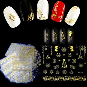 Belleza completa 30 unids / lote Shinny 3D Sticker Nails Art Gold Glitter Adhesive Vine Flower para Manicura Consejos Mix Nail Decals