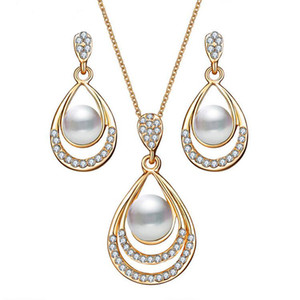 Fashion Gold Color Water Drop Simulated Pearl Crystal Necklace Stud Earrings Jewelry Set for Women Party Wedding Jewellery