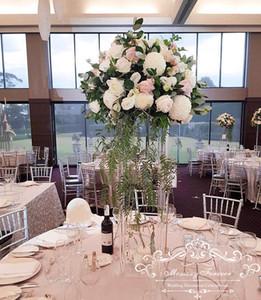 نمط جديد زفاف طويل الاكريليك الكريستال أعمدة الجدول محور الزفاف زهرة حامل للزينة ترتيبات الجدول الأزهار