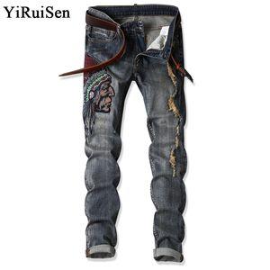 YiRuiSen Patchwork Ve Erkek Giyim İçin Nakış Hint Erkekler İnce Jeans Casual Uzun Pantolon Denim Jeans