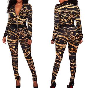 Winter Frauen Jacke + Hosen 2 Stück Goldkette Print Trainingsanzug Weiblich Outfit Sporting Suit Crop Top Reißverschluss Sweatsuit