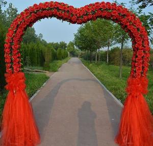 Romantique et noble fleur de mariage en soie cadre porte en métal fleur rose arc porte pour la grande décoration de préparation de scène de mariage.