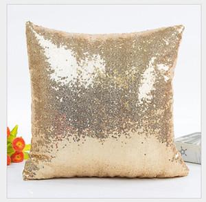 Square Pillow Cover Cushion Case Toss Pillowcase Hidden Zipper Closure 2018 Mermaid Sequin Pillowcase Cushion Cover Decor Sofa