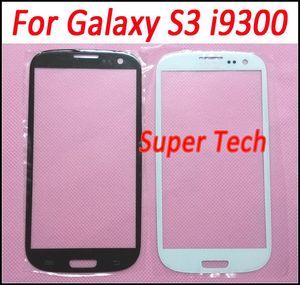Lente de cristal de la pantalla exterior delantera en blanco y negro Cristalizador de la cubierta para Samsung Galaxy S III S3 i9300 Sin DHL