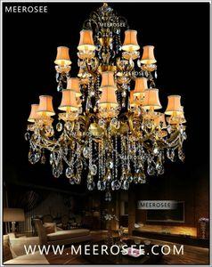 큰 3 계층 24 팔 크리스탈 샹 들리 전등 Antique Brass 고급스러운 크리스탈 Lustre 램프 MD8504-L24 D1150mm H1400mm
