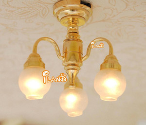 Chandelier Model - 1:12 Dollhouse Brass Chandelier 3 arm Lamp LED Ceiling Lamp Glass Shade