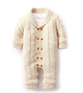 도매 소매 아기 의류 스웨터 Romper 새로운 태어난 긴 소매 따뜻한 양털 Romper 0-18M 무료 배송