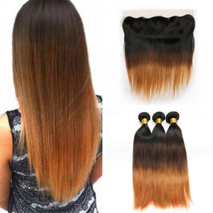 Dark Roots Ombre Straight Lace Frontal Closure with Bundles 3 Tone 1B 4 30 Auburn Ombre Pelo malasio teje con frontal