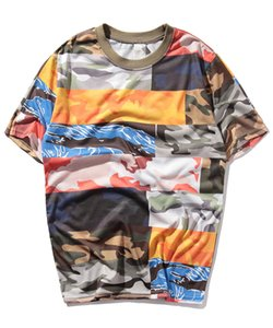 Yeni stil sokak pamuk T-shirt marka yüz bez kamuflaj T-shirt ve hip hop Yarım Kollu Tee