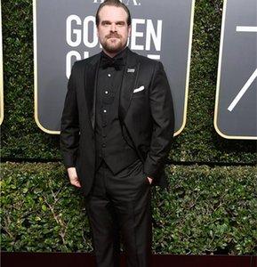 75-й Золотой глобус награды черный свадебный смокинг дешевые женихи носить 3 шт классический стиль на заказ мужские костюмы (куртка + брюки + жилет + галстук)