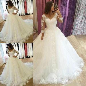 Hot Sale V-neck Long Sleeve Ball Gown Wedding Dresses Appliques Court Trai zipper Back Bridal Gowns Princess Plus Size Bride Wedding Gowns