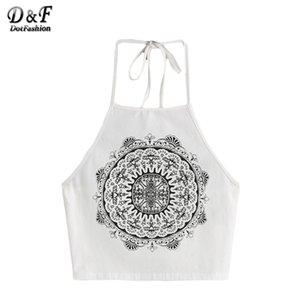 Dotfashion womans top con top de correa 2017 fitness verano blanco vintage círculo impresión halter cuello cami sexy camisola