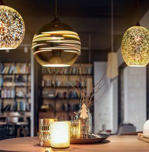 Klassisches design led lampe pendelleuchte durchmesser 15cm 3d bunte glas spiegelkugel hängende leuchte